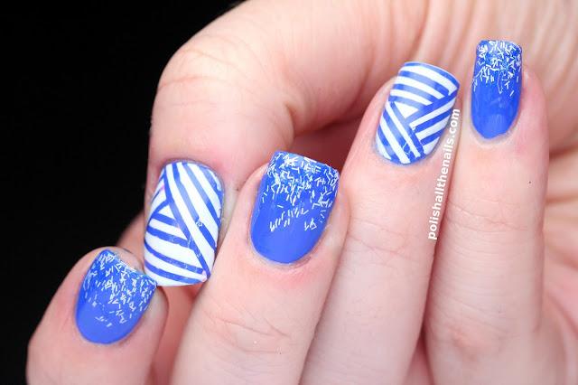 ArtPlus Royal Blue Fake Nails Kit Stilleto Metallic Full
