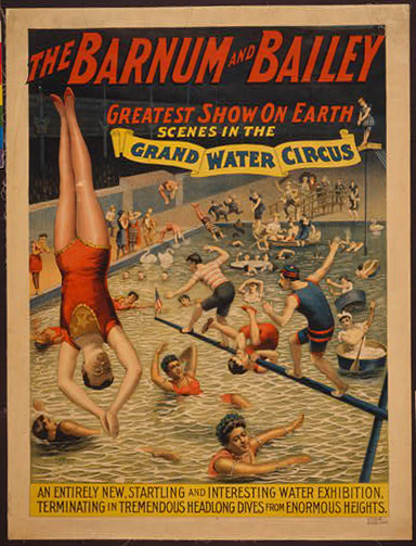 circus, classic posters, free download, graphic design, retro prints, vintage, vintage posters, The Barnum & Bailey, Greatest Show on Earth, Grand Water Circus - Vintage Circus Poster