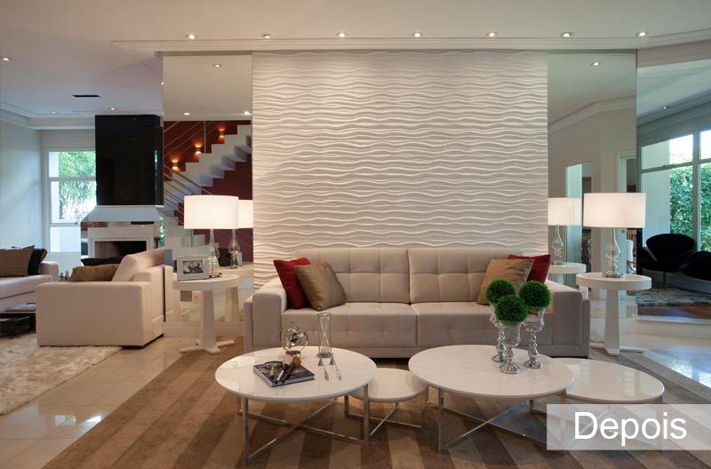 Antes depois salas de estar jantar lareira e tv for Revestimento 3d sala de estar