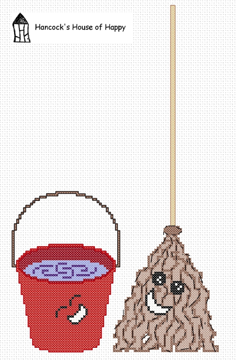 mop and bucket cross stitch chart