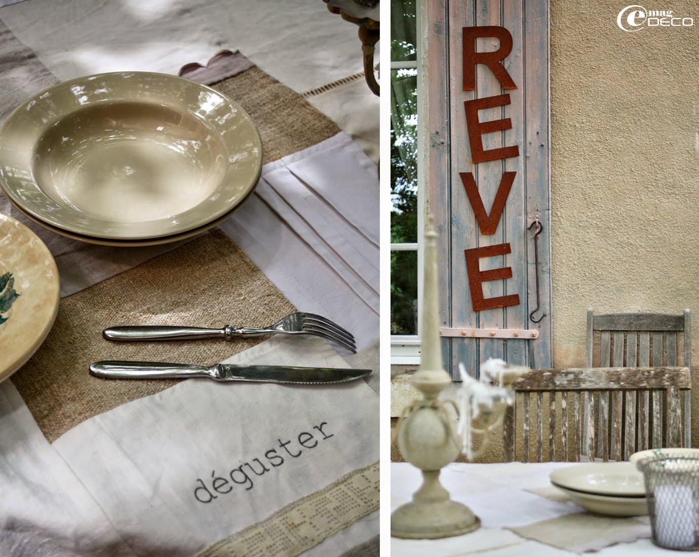 Set de table en patchwork de chanvre, lin, dentelle ancienne et vieux draps, création Les toiles de l'une