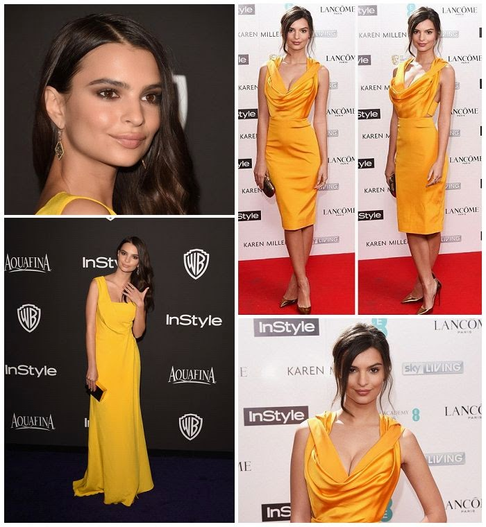 Emily Ratajkowski wears a yellow gown for BAFTA party at London's Ace Hotel in London on Monday, February 2, 2015