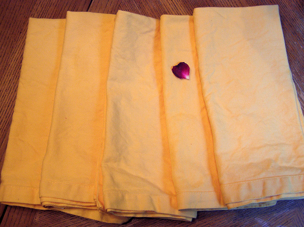 Yellow Cloth Napkins with Heart-Shaped Rose Petal