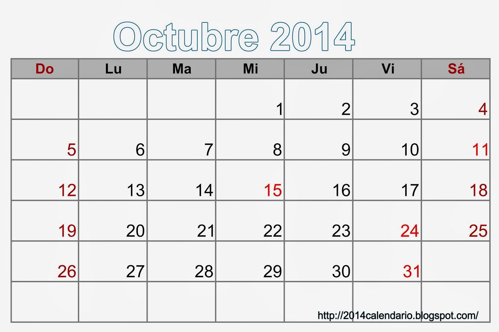 Calendario 2014 Imprimir Excel Calendario 2014 Octubre Excel.jpg