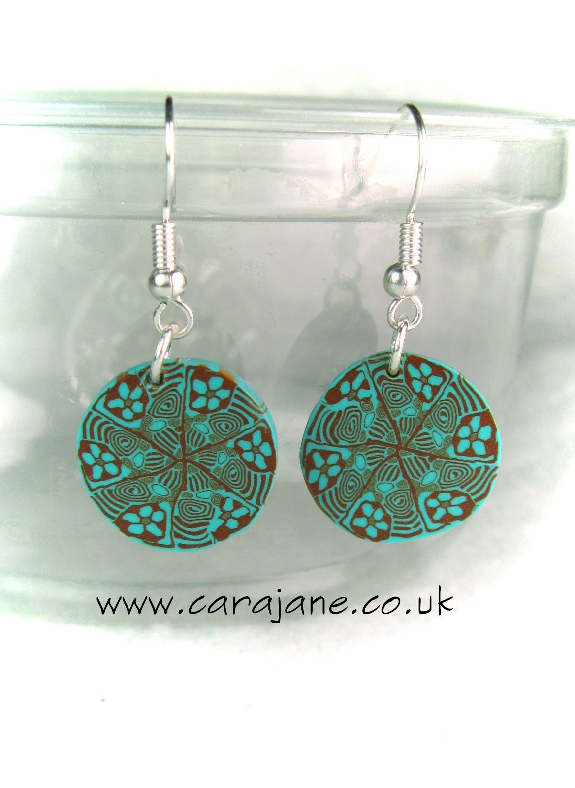 polymer clay kaliedoscope earrings