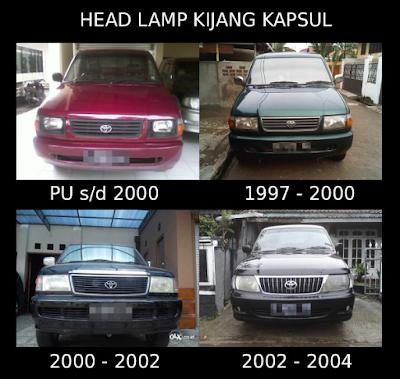 Perbedaan lampu Kijang Kapsul setiap model tahun