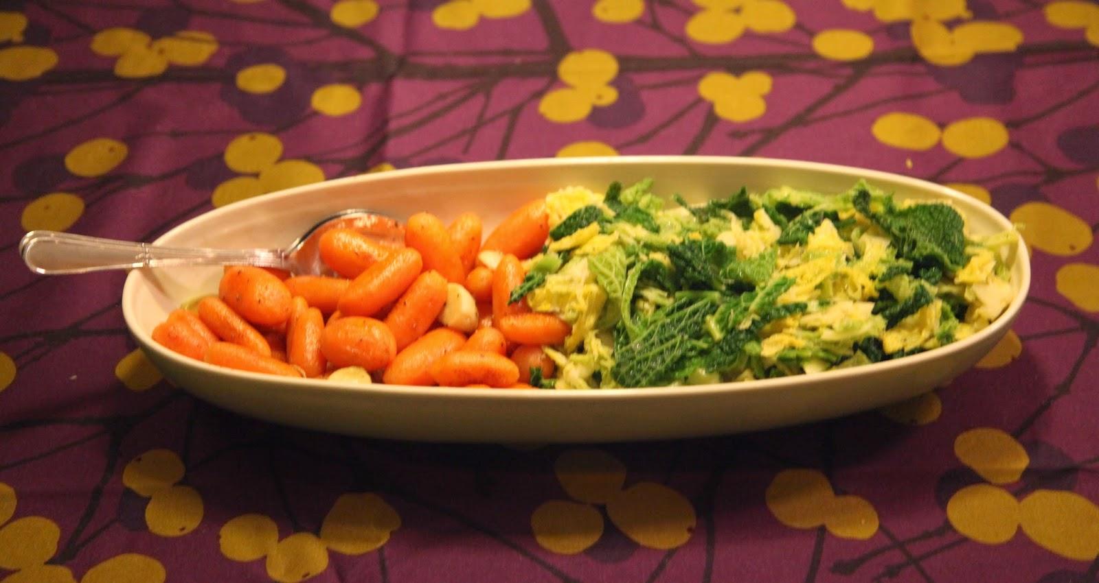 Voinen savoijinkaali ja glaseeratutporkkanat