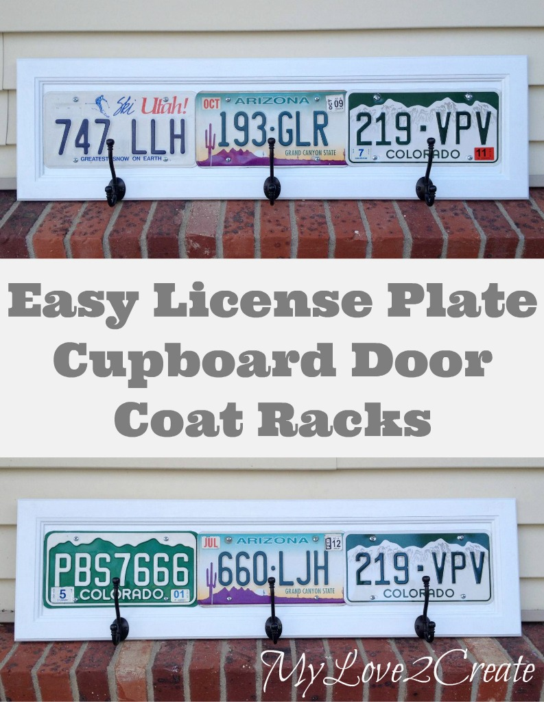 Use up those old license plates and cupboard doors by turning them into cool coat racks!