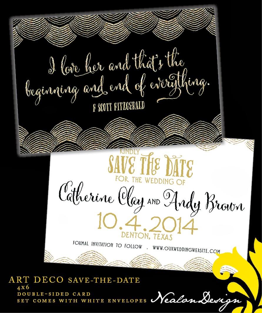nealon design art deco gatsby save the date