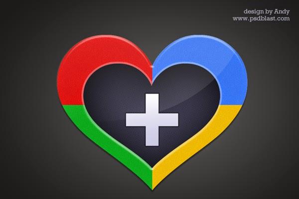 Heart Shape Google Plus Icon PSD