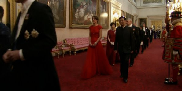 Duchess of Cambridge and Prince William, Duke of Cambridge. The Duchess of Cambridge attend her first state banquet at Buckingham Palace