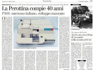 Perottina 40 anni Unione Sarda 30 ottobre 2005