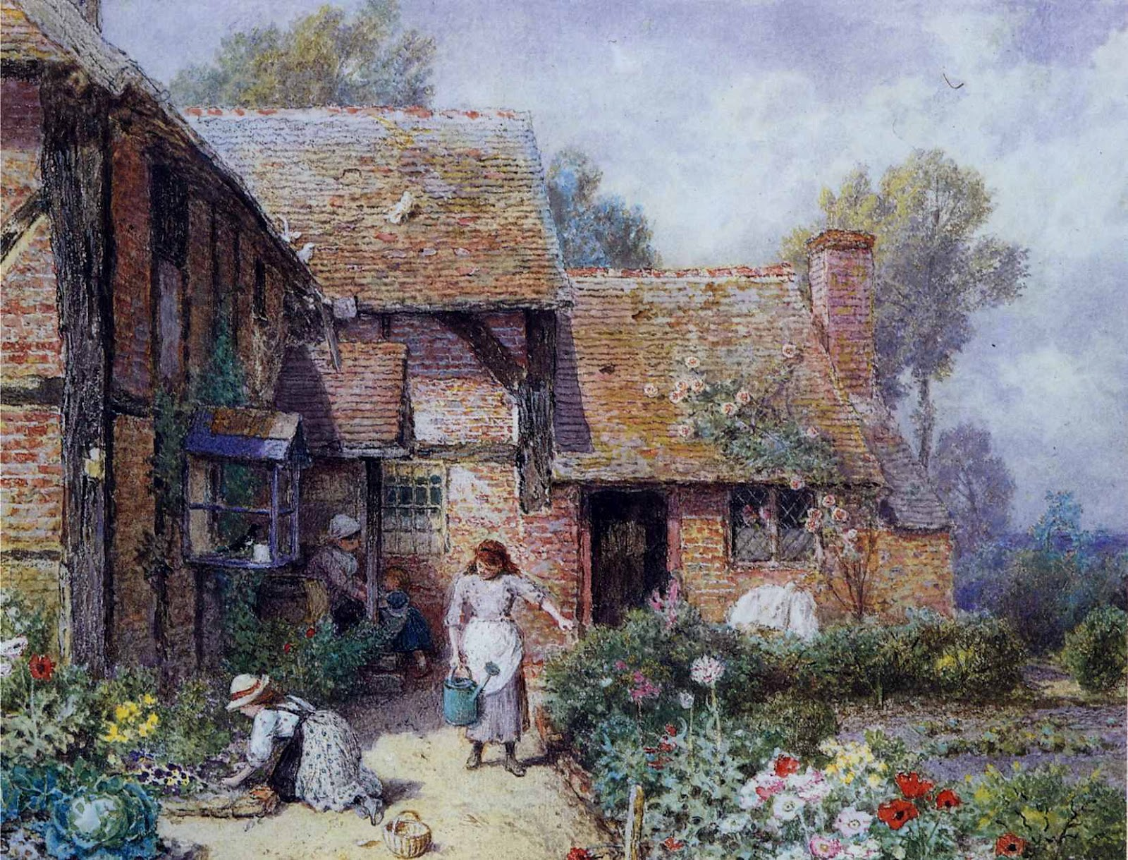 English country garden paintings - Victorian British Painting Myles Birket Foster