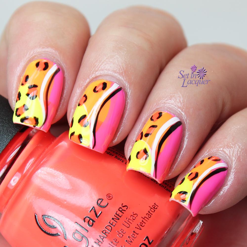 China Glaze - Neon Leopard Print Nail Art