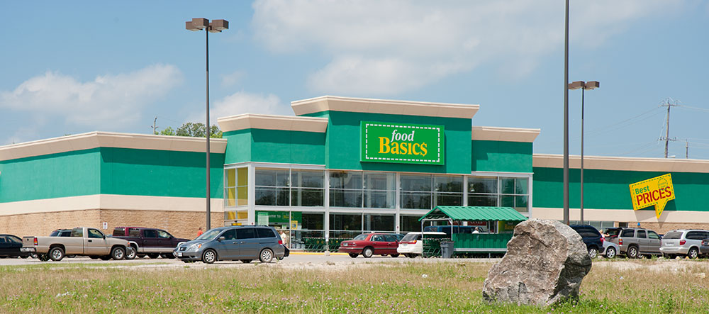 The Food Basics grocery store at the Westridge shopping area, Orillia.