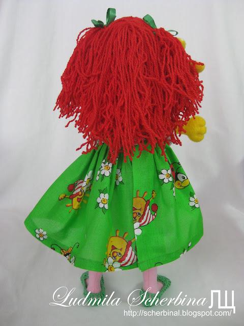 Текстильная кукла на проволочном каркасе