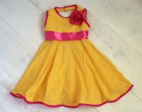 dress, pink, yellow, rose, twirl