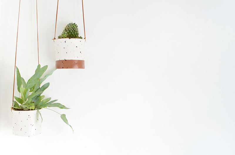 diy planters using leather cord and air dry clay.