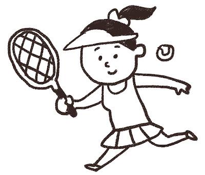 テニスをしている女性のイラスト モノクロ線画