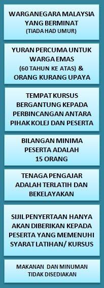 Maklumat Kursus Pendek  PROGRAM LATIHAN 1 MALAYSIA