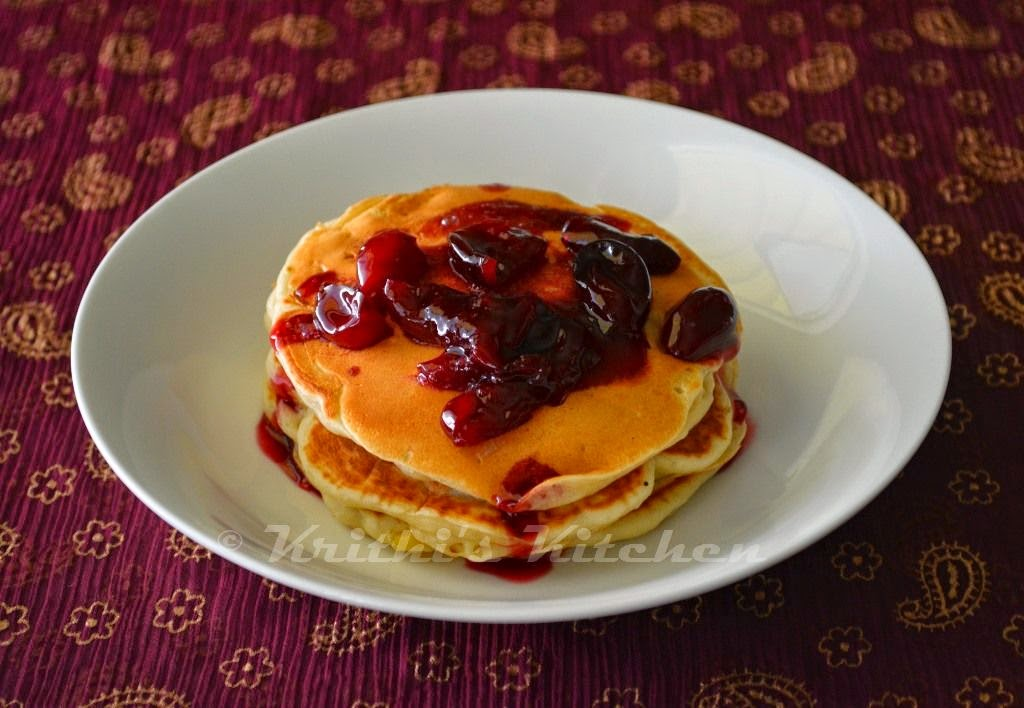 Krithi's Kitchen: Peach Buttermilk Pancakes (eggless) with ...