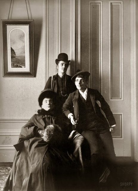 "Frances Benjamin Johnston (right) poses with two cross-dressing friends, the ""lady"" is identified by Johnston as the illustrator Mills Thompson, 1890."