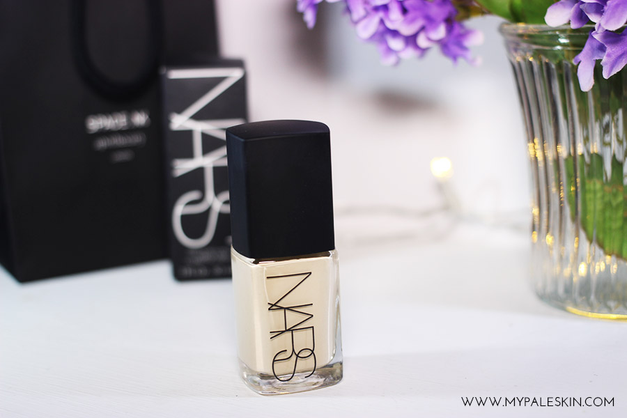 Nars sheer glow, pale skin, siberia, swatch, review, my pale skin, blogger