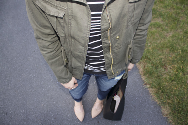 my style, Express, Express Girlfriend Jeans, jeans, dark jeans, cargo jacket, Old Navy Cargo Jacket, striped shirt, Target striped shirt, Zara flats, flats, lace up flats, black tote, Old Navy tote