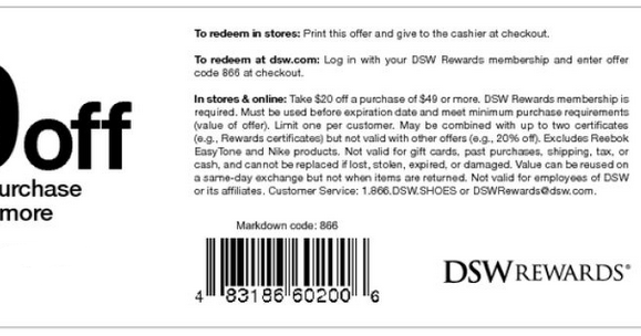 Dsw coupon code $20 off in store