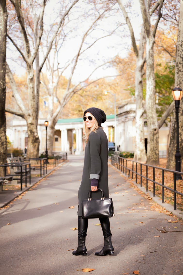 Fall in the park grey monochromatic long trench Club Monaco Alexander Wang Anouck boots DKNY beanie