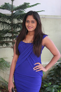 Lavanya Pictures in Blue Mini Dress at Anbha Azhaga Movie Press Meet