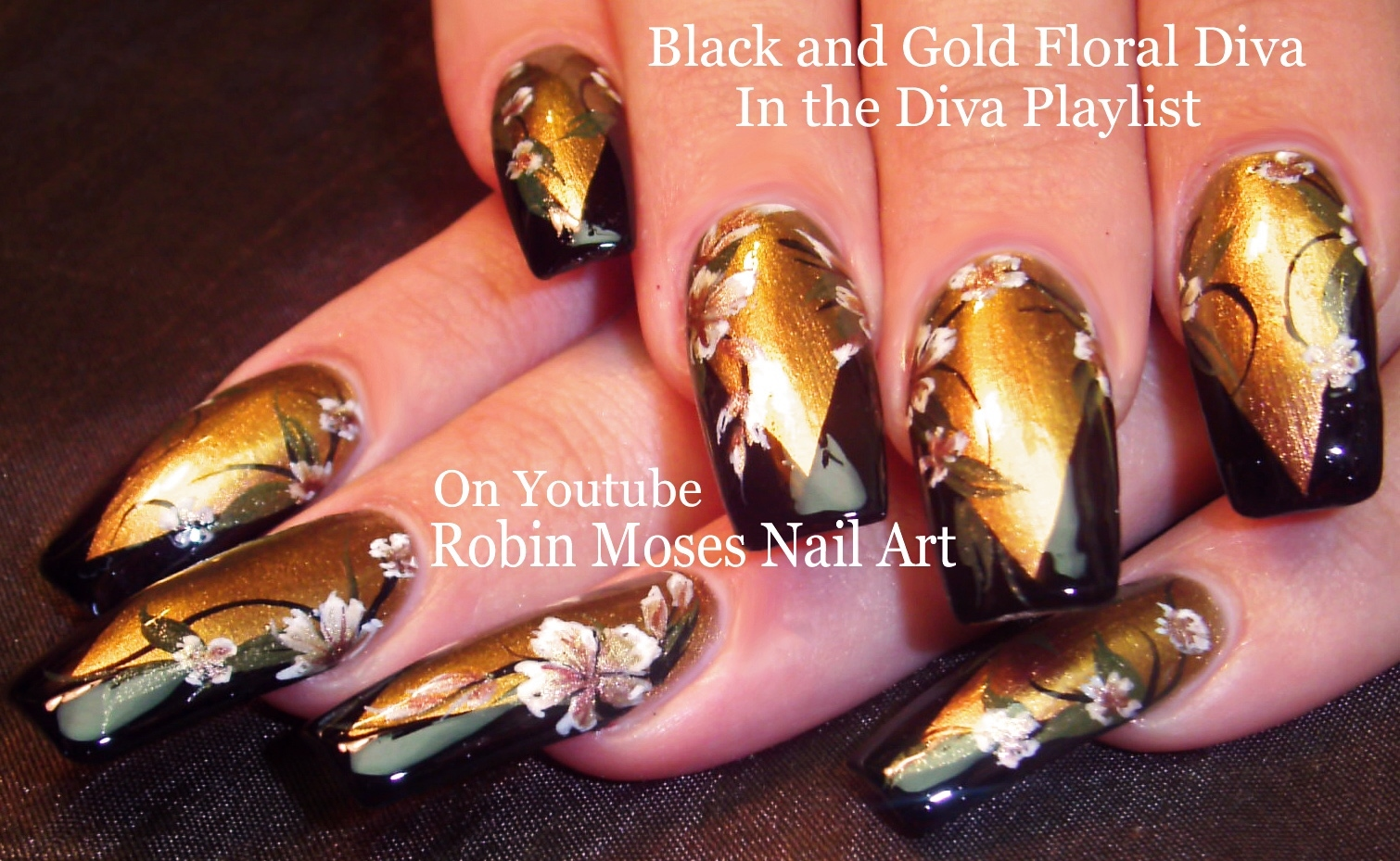 Gold and Black Flower Diva Nails up today!!! \