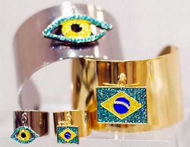 braceletes bandeira do Brasil Copa coleção joias anéis