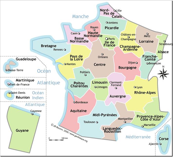 Fle Carte De France Avec Les Regions Et Les Capitales