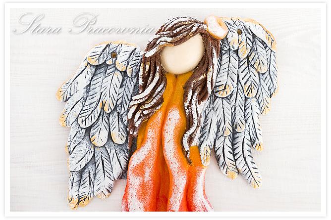 anioły anioł z masy solnej, salt dough angel, figurka z masy solnej