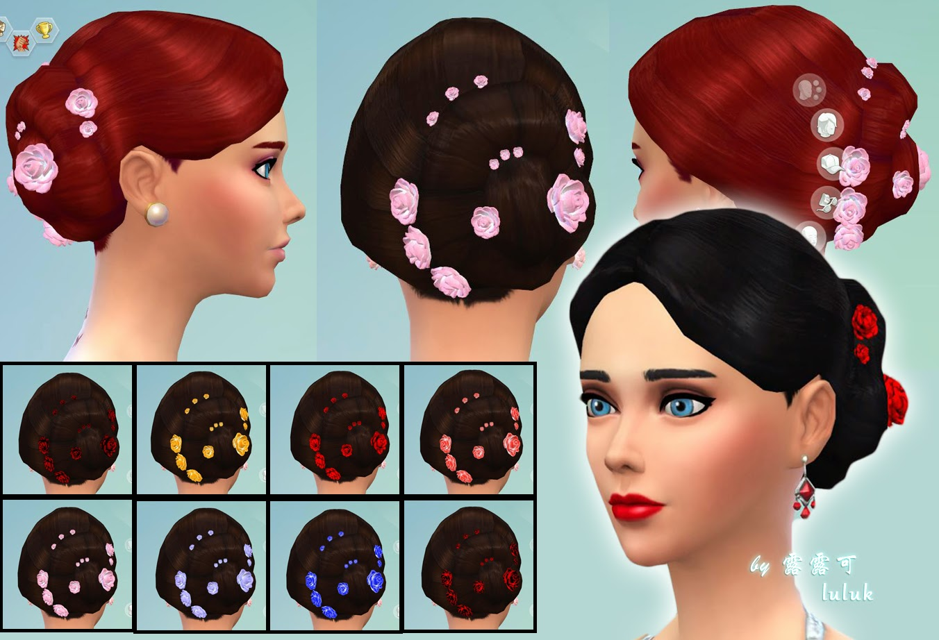 The sims 4 hair accessories - Hair For Party And Accessories By Luluk The Sims Resource