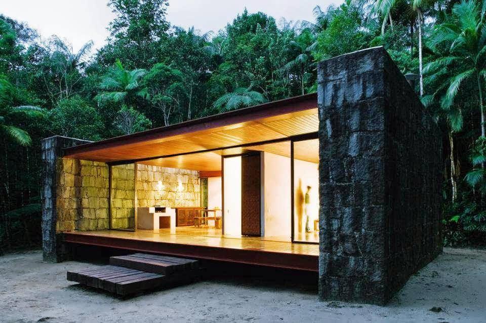 Half glass half rocks and wood minimalist house of cabin for Minimalist house design wood