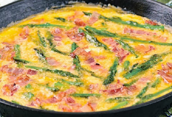 Open-Face Omelet with Asparagus and Bacon Recipe