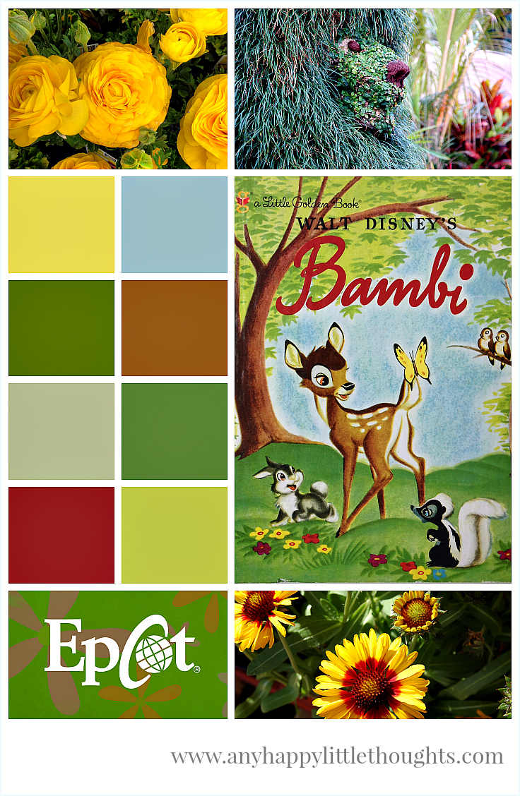 mood board featuring a Little Golden Book + 2010 festival guide - Disney inspired memory keeping | www.anyhappylittlethoughts.com