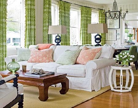 home decoration design green curtain for living room. Black Bedroom Furniture Sets. Home Design Ideas