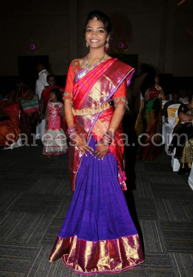 Girl In Designer Half Sarees