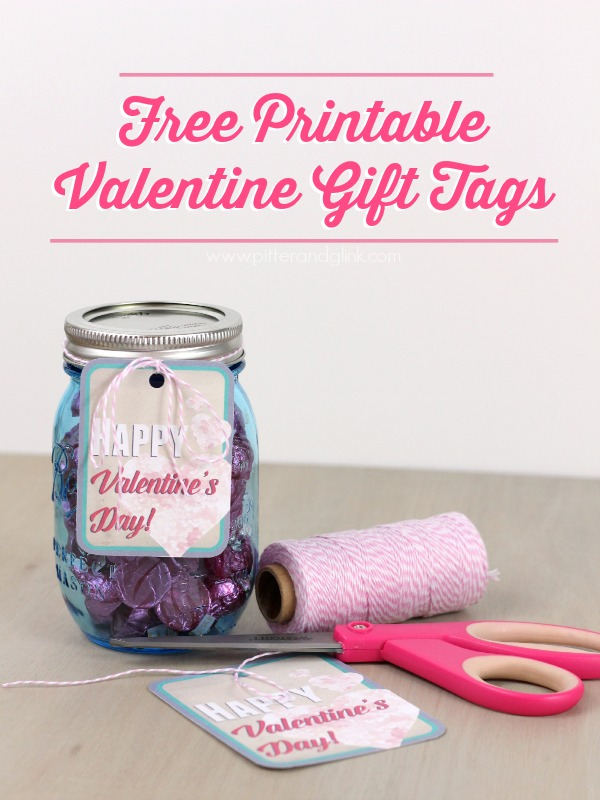 Free Printable Happy Valentine Gift Tags  pitterandglink.com