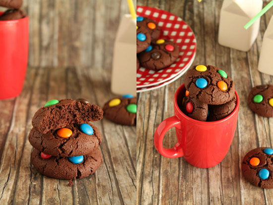 Cocoa and m&m's cookies