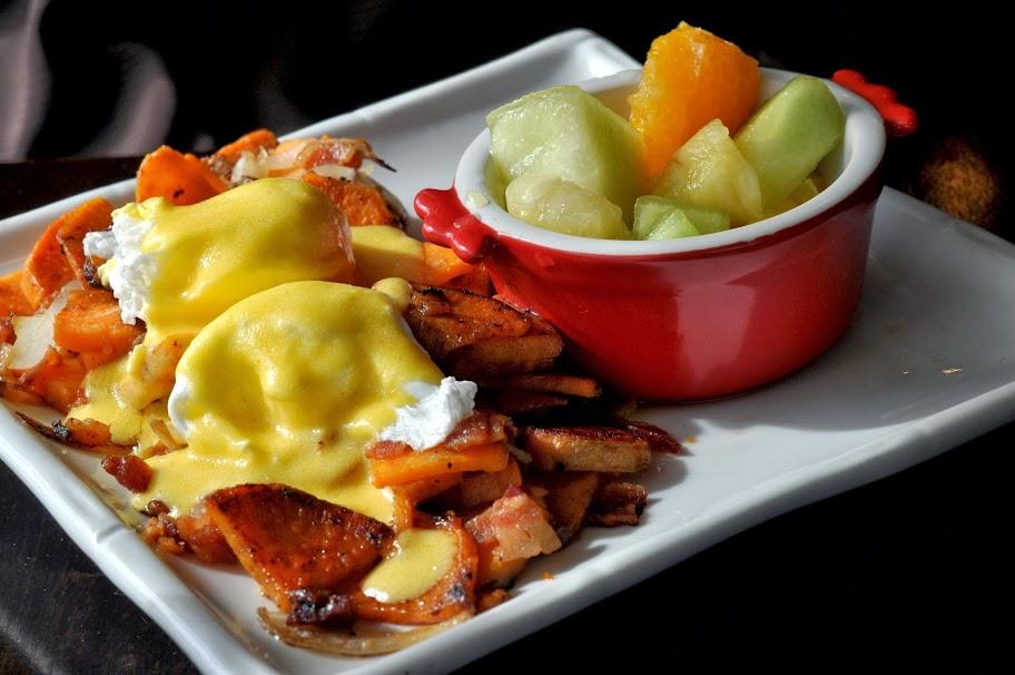 Sweet Potato Benedict with Fresh Fruit - BeanBath Cafe - Bath, PA | Taste As You Go