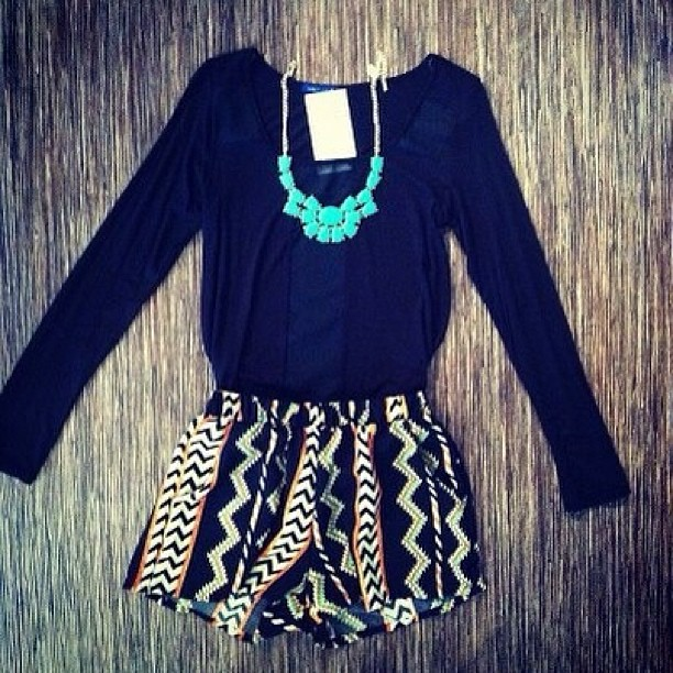 Black sleeve shirt with aztec short fashion