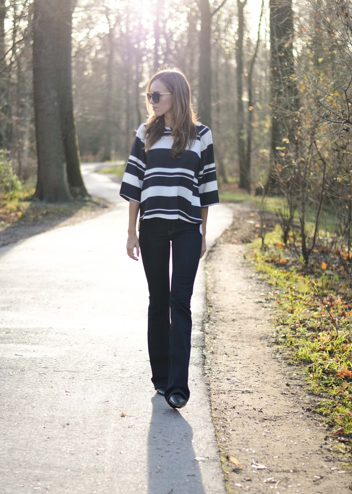 kristjaana mere striped loose top flare jeans pointed flats fall fashion