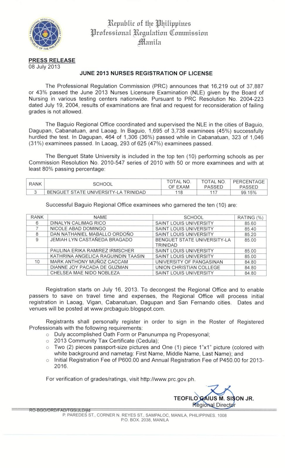 Prc baguio information site june 2013 nurses registration schedule yelopaper Images