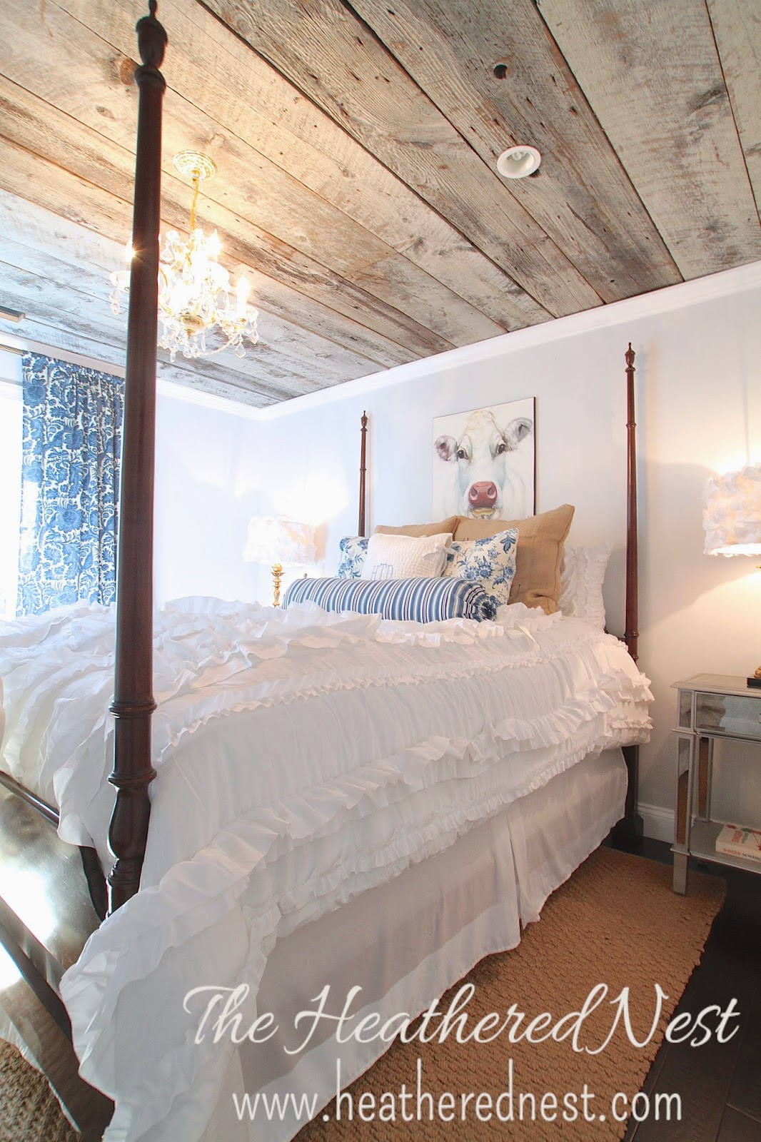 cow art, heathered nest cow, heathered nest guest room, heathered nest barnboard ceiling