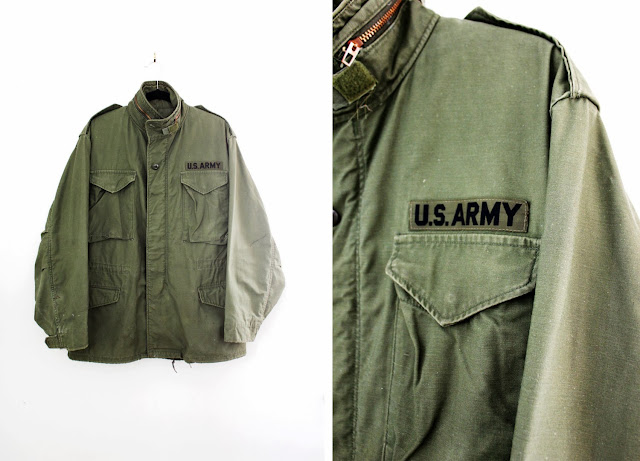 vintage army field jacket at the cutandchicvintage menswear section
