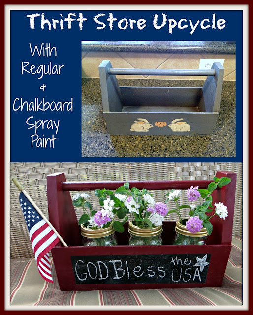 thrift store, spray paint, upcycle, wood tool box